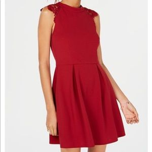 Lace-Contrast Fit & Flare Dress Xs